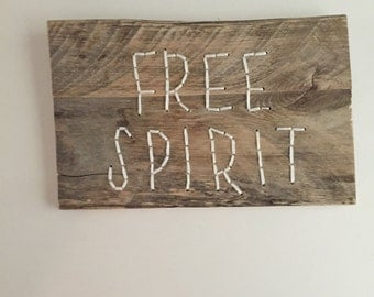 Free Spirit, Hand Embroidery, Wood Wall Art