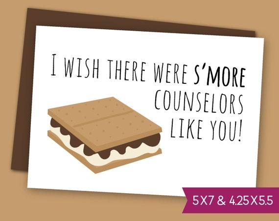 summer camp counselor printable thank you card sleepaway