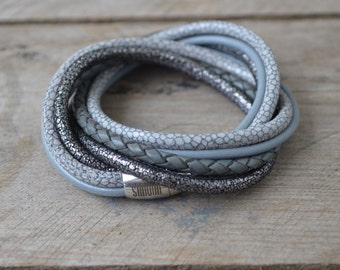 Leather Bracelet 'Manhattan' in gray with magetic clasp