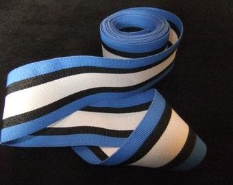 Bright Blue, Black, and White Stripe Grosgrain Ribbon, 3 Yards