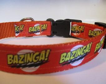 Handmade Bazinga dog collar adjustable nylon Big Bang inspired
