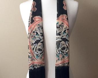 Floral/Medallion Silk Chiffon Scarf with Black/Grey Ombre Fringe