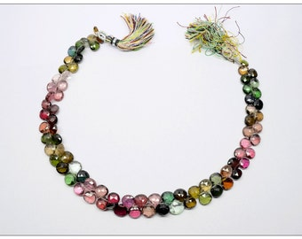 Strand of Gem Quality Multi-Tourmaline Faceted Briolettes - 12 Inches