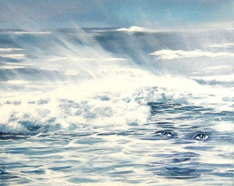 Marine painting : Atlantic Ocean Stormy waves in the bay of Quiberon  oil on canvas  60x60cm