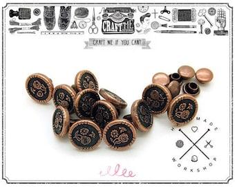 """15PCS 3/8"""" Copper Flower RIVETS studs Snap Leather Decoration."""