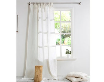 White Linen Curtain- Linen Curtain with ties- Stone washed Linen Panels-Window Treatments-Linen Panel-Width 55''(140cm) x Custom length.