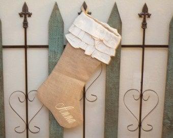 Custom Christmas Stocking, Burlap Jute Stockings Monogrammed Personalized
