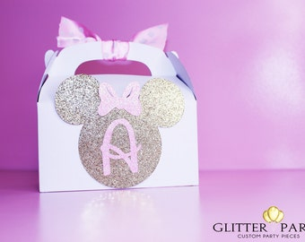 12 Glitter gold and pink Princess Minnie Mouse party favor boxes! Customize colors to fit your event!