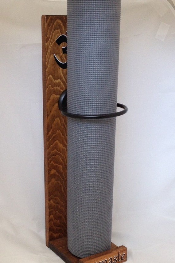 Yoga handmade vertical yoga mat holder walnut stain by