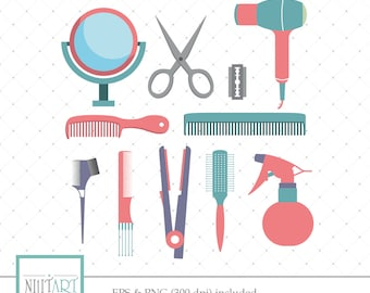 Hairdressing Clipart, Hair Clipart, Haircut Clipart, Vector graphics, Digital Images