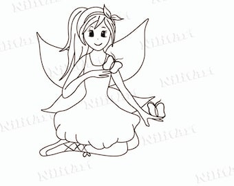 Butterfly Digital Stamp, Digi Stamp, Coloring Page, Girl, Fantasy, Adult Coloring Page  NilitArt IMG 012