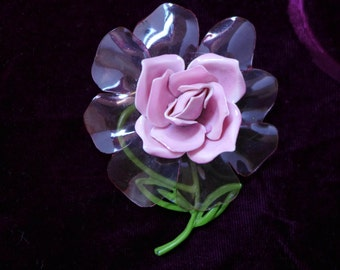 1950s Pink Rose Lucite Pin Very PRETTY 3 x 3 Estate Couture Mod Look Retro Feel Excellent Unusual