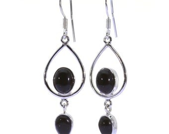Black Onyx Earrings, 925 Sterling Silver, Unique only 1 piece available! color black, weight 5.3g, #38429