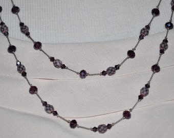 Handknotted Necklace, Handmade Necklace, Long Beaded Necklace, Purple Beaded Necklace, Knotted Necklace, Amethyst Necklace, Amethyst Beads