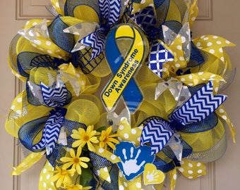 Down Syndrome Awareness Wreath with Ribbon and Hand Print Photo Props and Flowers