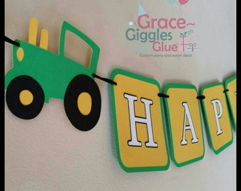 Tractor themed Banner, John Deere Garland, First Birthday Banner