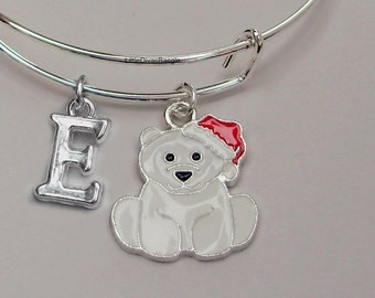 Polar Bear CHRISTMAS / W Initial - Adjustable BANGLE -Personalize Your Expandable Bracelet - Gift For Her - Under 20 USA W1