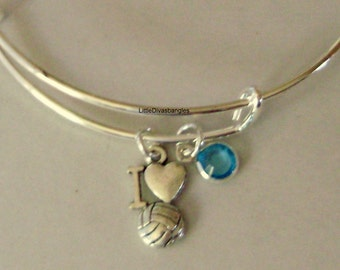 I LOVE SOCCER Bangle Bracelet  W/ A Birthstone /  Under Twenty / Sports Team Gift - Gift For Rer Usa H1