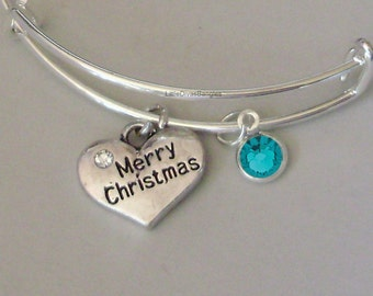 Merry CHRISTMAS Bangle W Birthstone - Adjustable BANGLE -Personalize Your Expandable Bracelet - Gift For Her - Under 20 USA  W1