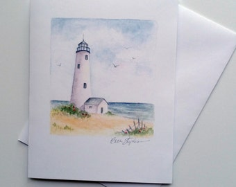 Nantucket Light Blank Note Card, 4x6 Card with Envelope, Lighthouse Watercolor art painting signed by Beth Stephens