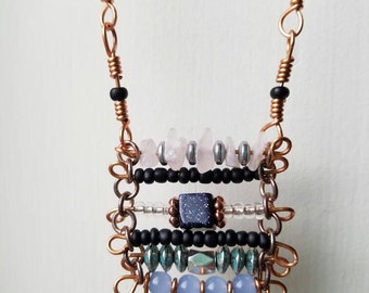 Copper Bead Tassel Necklace