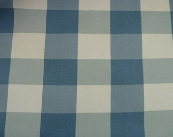 Blue Gingham 100% Cotton Canvas/Duck Fabric.  For Soft Furnishings, Bags and Crafts.