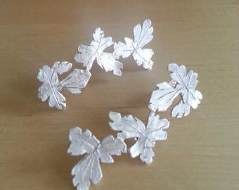 Grape leaves sterling  silver earrings