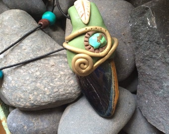 Stone and Sculpted Clay Pedant with Turquoise Stone