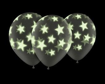 "10 Glow in the Dark Stars Clear 11"" Latex balloons celebration birthday partylatex Balloon kids birthday party decor supplies"