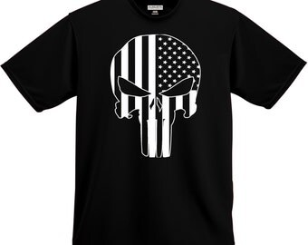 Men's T-Shirt, Skull T-Shirt , Skull Shirt , Skull tee, Skulls , Stars and Stripes Tshirt , Stars and stripes shirt, Punisher, The Punisher