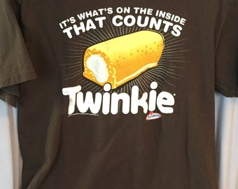 Vintage tshirt Twinkie Hostess, Ex Cond Size M, Brown Tshirt Upcycled Twinkee, Holiday Gift Under 20, 60's, Her Him, Junk Food Tee