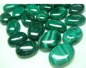 ON SALE 50% Wholesale Malachite Cabachon Lot - Oval Calibrated Malachite Cabachons - 18x13mm - 50 CTW - 3 Pieces