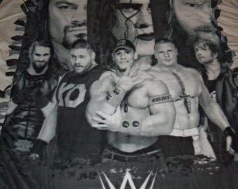 "Brand New Fantastic "" WWE "" World Wrestling Entertainment Double Sided Hand Tied Fleece Blanket"