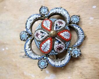 Mosaic brooch Millefiori antique Italy