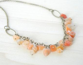 Aventurine Dangle Necklace - Gemstone Necklace, Bronze Necklace, Boho Necklace, Red Aventurine Necklace, Orange Necklace, Bohemian Jewelry