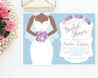Bridal Shower Invitation | Wedding Dress with Veil and Bouquet | Bride Three Theme | 5x7 | Printable or Printed Options