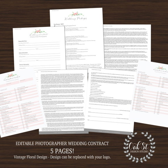 photographer wedding contract business files photographer