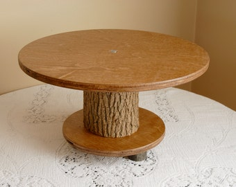 Rustic Cake Stand (Holder) for Wedding, Party, Shower, Birthday, Anniversary,  Single Tier - Wood Wooden