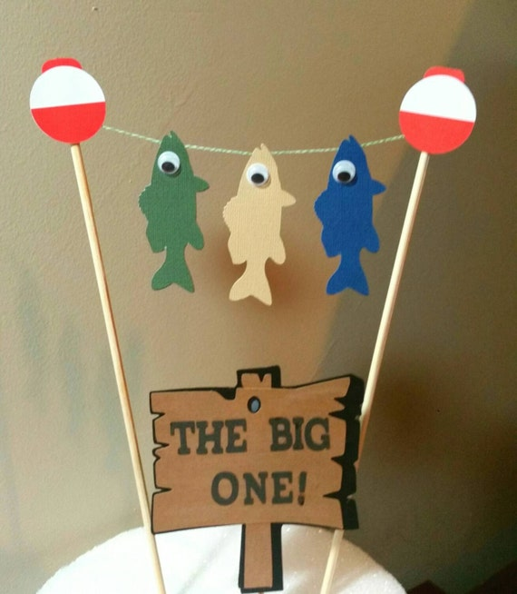 Birthday cake topper fishing birthday by kpdigitalcreations for Fishing cake toppers
