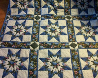 """BLUE 8 POINTED STARS Handsewn Quilt Queen Size 87"""" X 106"""""""