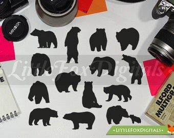 Grizzly Bear Forest Animal Silhouette Clipart Set Digital Illustration Scrapbook