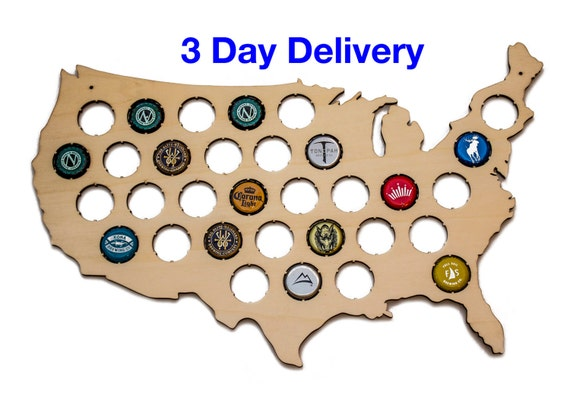 US Beer Cap Map Small Holds 32 Craft Beer Bottle Caps