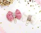 Fabric Bow Paperclip - Dusty Rose / Off White - Rhinestone Page Clip   Bookmark   Page Marker . Planner accessories supply.