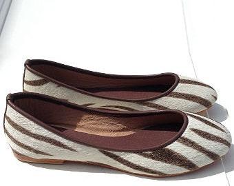 VALE- Zebra print leather ballet flat