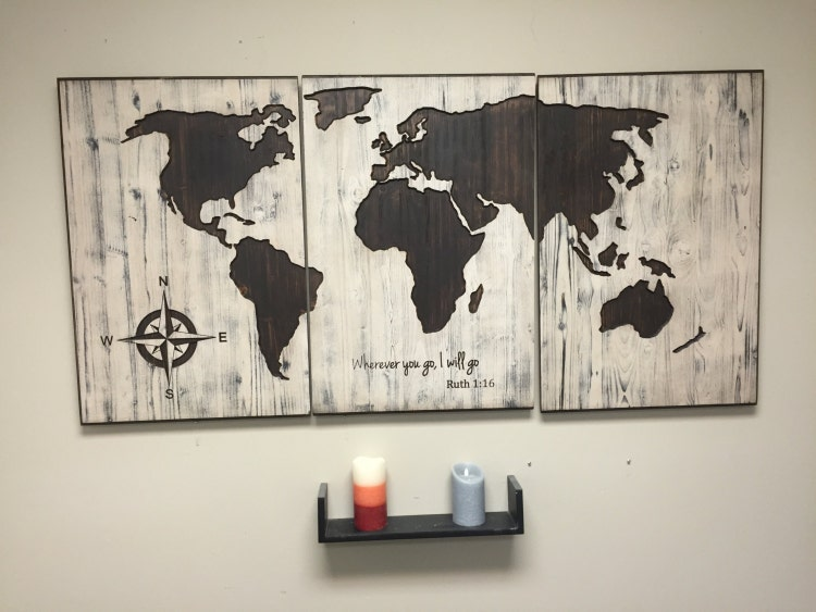 Rustic World Map Wall Art Carved Home Decor 3 Panel By