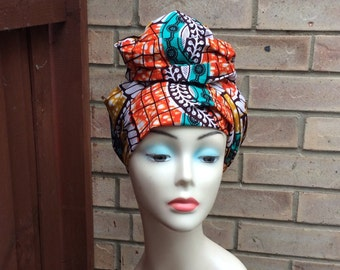 African print headwrap, wax print head tie