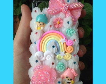 iPhone 4/s Rainbow Little Twin Stars Decoden Case
