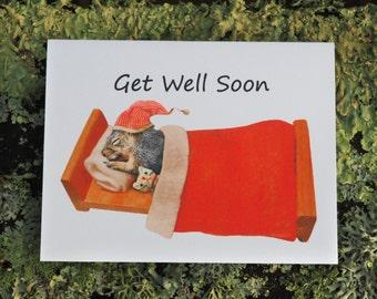 Sleeping Squirrel Printable Get Well Card