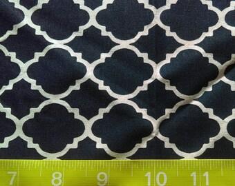 Fabric Navy Quatrefoil