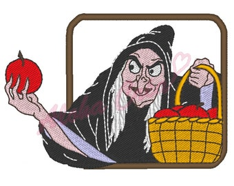 HALLOWEEN machine embroidery pattern scary old witch apple basket  - instant download
